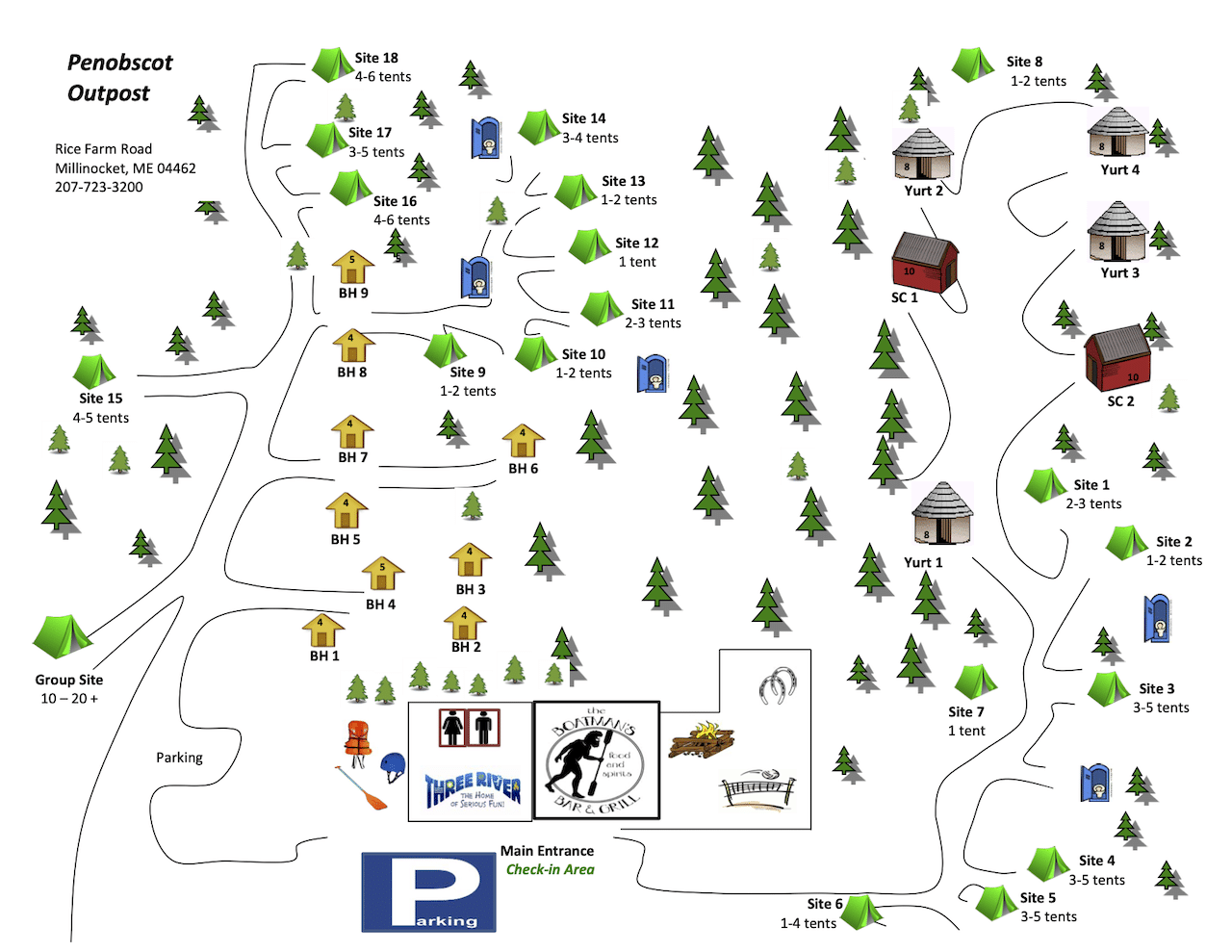 Penobscot River Outpost Campground Map